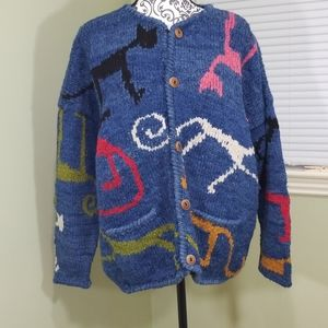 Amano Wool Sweater With Cats Made in Bolivia